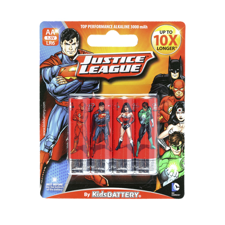 Pilas Justice League de Toy Stand Doble AA paquete