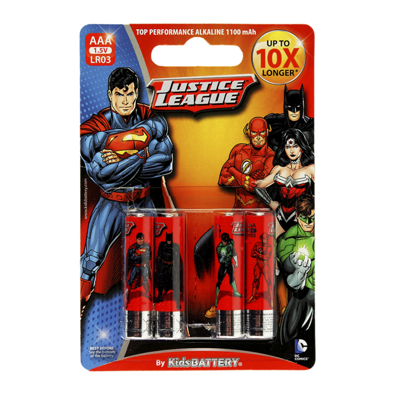 Pilas Justice League de Toy Stand Triple AAA paquete