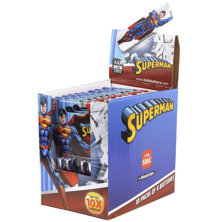 Paquetes de pilas Superman de Toy Stand Triple AAA